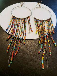 "70s/90s Vintage Big 7.5"" Long Hippy 2"" Hoop Earrings Multicolor Tribal Pierced #Unbranded #Hoop 90s Jewelry, Vintage Wear, Hippy, Dream Catcher, Hoop Earrings, Big, Dreamcatchers, Retro Clothing, Dream Catchers"