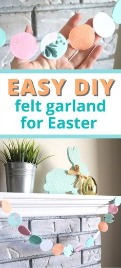 Easy Felt Circle Garland for Any Holiday - Aubree Originals Holiday Crafts For Kids, Easter Crafts For Kids, Crafts For Teens, Holiday Fun, Easter Garland, Felt Garland, Diy Garland, Circle Garland, Diy Spring Wreath