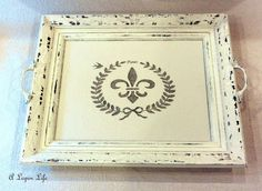 make a shabby chic serving tray from a picture frame, chalk paint and handle hardware