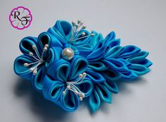 Kanzashi flowers Blue flowers hair accessory  by RainOfFlowers