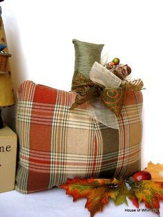 32 Cozy Plaid Decor Ideas, All the trendy and cozy bedroom decor ideas recently always feature a major focal point and added elements to supply texture to the total appearance o. Pumpkin Pillows, Fall Pillows, Throw Pillows, Diy Pillows, Pumkin Decoration, Harvest Decorations, Fabric Pumpkins, Fall Pumpkins, Thanksgiving Crafts