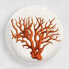 red coral melamine plate by TheMadPlatters on Etsy