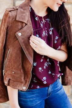 Floral blouse and suede jacket on Kendi Everyday.