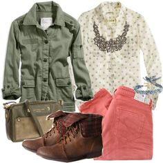 j. crew blythe blouse in polka dot with military jacket and coral skinny jeans