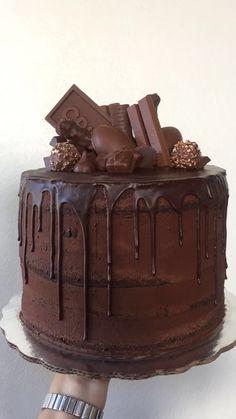 Cooking Chocolate, Tasty Chocolate Cake, Chocolate Delight, Dessert Cake Recipes, Dessert Dishes, Birthday Cake Decorating, Pastry Cake, Drip Cakes, Homemade Cakes
