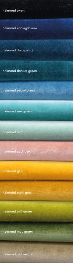 Velours gordijnen  of velvet gordijnen. Ze zijn weer helemaal terug. Wij kozen deze kleurenj. Van diepe blauwe en groen en cury geel tot oudrose. En we maken er gordijnen op maat van voor je! #velours #velvet #gordijnen #geel #groen #petrol #roze Wall Tattoos, Interior Paint Colors, Interior Design, Paint Charts, Colour Story, Window Design, Home Deco, Color Inspiration, Architecture Design
