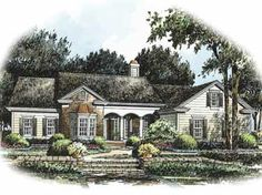 Home Plans HOMEPW09675 - 2,204 Square Feet, 3 Bedroom 2 Bathroom Cottage Home with 2 Garage Bays