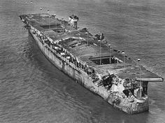USS Independence damaged in atomic bomb tests in San Francisco Bay being prepared for sinking after efforts to wash off the radioactivity were unsuccessful January 1951.