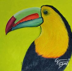 """gg's functional art ~ """"Mr. Chartreuse Toucan"""", prints can be purchased here: http://gg-burns.artistwebsites.com/featured/1-chartreuse-toucan-gg-burns.html"""