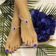 SAPPHIRE beaded barefoot sandals  - royal blue
