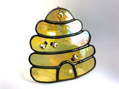Iridescent Golden Honey Beehive Stained Glass Suncatcher Home Decor, Window Ornament, Hive Wall Decoration, Birthday Gift Beekeeper by MrBrinkleysStudio on Etsy