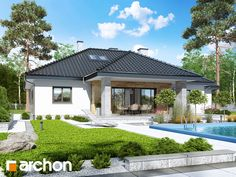 Dom w akebiach 5 Modern Bungalow House, Bungalow House Plans, House Layout Plans, House Layouts, 4 Bedroom House Plans, Compact House, Dream House Exterior, House Design, Mansions