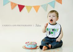 First Birthday Boy Cake Smash- this looks like the banner for his party...