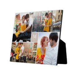 Tan Box Timeless Monogram Wedding Custom Photo Collage Photo Plaques by fatfatin