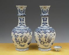 Antique Pair of Large Dutch Delft Knobble-Vases Birds + Chinese Attributes 19TH.