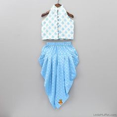 White Blouse And Blue Dhoti Set Kids Dress Wear, Kids Gown, Kids Wear, Kids Frocks Design, Baby Frocks Designs, Baby Girl Dress Patterns, Baby Dress Design, Frocks For Girls, Dresses Kids Girl