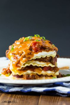 Our new FAVORITE lasagna! Two recipes in one -- Barbecue Chili recipe and a lasagna recipe to make with the leftover chili!
