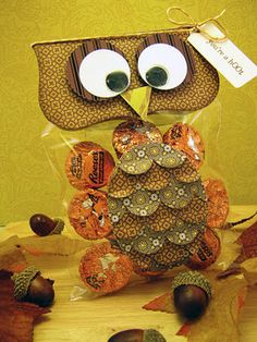 owl - Sue notice the circle punches used to make feathers..like in the owl card Janice had us make!