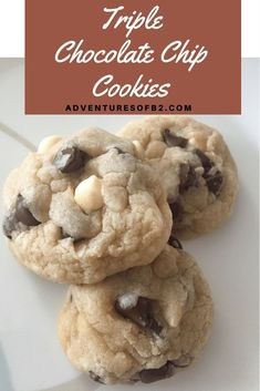 These triple chocolate cookies are soft and combine all three chocolates for the perfect sweetness. Adventures of B2 #cookierecipe #triplechocolate #cookies #dessertrecipe