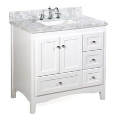 Abbey 36 Inch White Bathroom Vanity Carrara White Includes Soft Close Drawers And Doors And Rectangular Ceramic Sink 36 Inch Bathroom Vanity, 36 Inch Vanity, Bathroom Vanities, Marble Bathrooms, Easy Bathrooms, Cream Bathroom, Bathrooms Decor, Concrete Bathroom, White Bathrooms