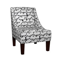 Venda Sloped Arm Chair featuring Black and White Skull Pattern by lanrete58   Roostery Home Decor