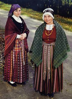 Zemgale or Semigallian Costume, Latvia. Yet more designs woven into the skirts.