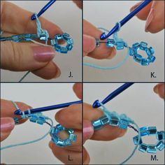 Easy Beaded Crochet Technique - Free Tutorial: Crocheting the Top of the Row