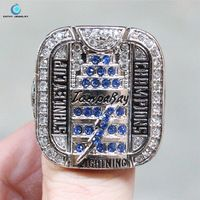 Tampa Bay Lightning NHL 2004 Stanley Cup championship ring Enamal Crystal Rhinestone gold Pleated Ring Men Jewelry