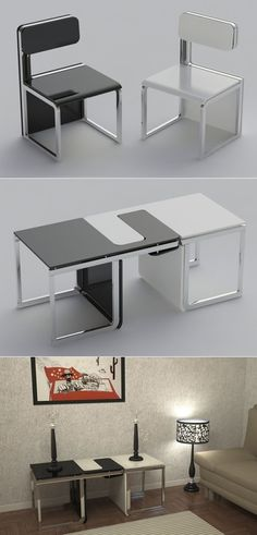 Project conceived in terms of space and utility, sensei, gathers two types of objects in a concept. These chairs can easily be transformed into a table.  http://www.claudiosibille.com/sensei.php