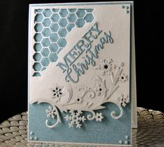 Christmas 2016 Wild Rose Studio Snowflake border, Tim Holtz media die, IO Merry Christmas Suede glitter paper. Created by Peggy Dollar