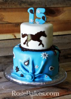 Turquoise & Brown Cowgirl Horse cake - Rose Bakes