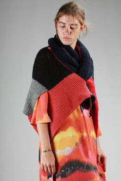 hand-made rectangular shawl in multicolour patchwork wool - DANIELA GREGIS