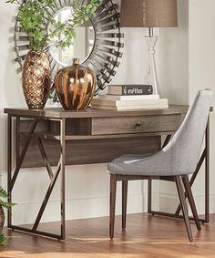Look at this #zulilyfind! Brown Distressed Fredrickson Metal Desk #zulilyfinds