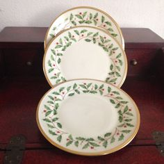 """Lenox Holiday Three 8 1/8"""" Salad Plates Holly Berries Gold Dimension Collection #Lenox"""