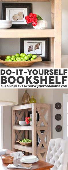 LOVE THIS! DIY bookshelf - it cost about $75 to build and she shows you how - putting this on my list!