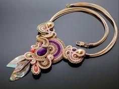 Purple pink gold Soutache necklace with Jadeite and Swarovski