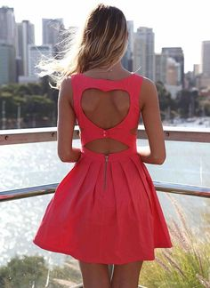 https://www.pinterest.com/myfashionintere/  Pink Heart Cutout Dress with Fitted Bodice & Pleated Skirt