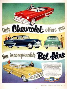 1954 Chevrolet Bel Air Line vintage ad. Features the Convertible, Coupe and Sedan models.