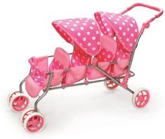 Badger Basket Inline Quad Doll Stroller, Pink Polka Dots, Fits Most Dolls & My Life As Real Baby Dolls, Baby Alive Dolls, Baby Doll Furniture, Best Lightweight Stroller, Baby Doll Strollers, Baby Doll Nursery, My American Girl Doll, Baby Doll Accessories, Dolls Prams