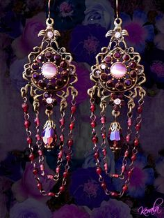 SALE Long Garnet Crystal Bohemian Chandelier Earrings door kerala, $22.00