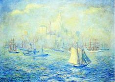 Saisie port de New York, huile sur toile de Theodore Earl Butler (1861-1936, United States)