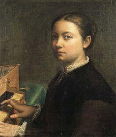 Sofonisba Anguissola  [1532-1625] Self portrait at the spinet [1554]. Location: Museo Nazionale di Capodimonte, Naples, Italy