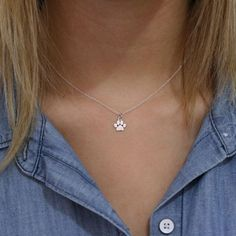 Paw Print Necklace  Sterling Silver Paw Print by TNineandCompany