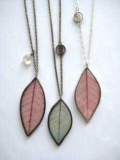 leaf skeleton necklaces, $46