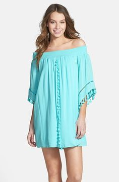 Free shipping and returns on Fire Tassel Trim Off the Shoulder Dress (Juniors) at Nordstrom.com. Swaying tassels and ladder stitching detail a smocked off-the-shoulder shift that's quintessentially boho.