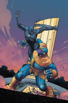 Black Panther vs Thanos by Kenneth Rocafort