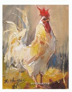 "Daily Paintworks - ""8x10""Original Oil Painting Rooster Art Chicken Hen Barn impressionism Artwork"" - Original Fine Art for Sale - © Thomas Xie"