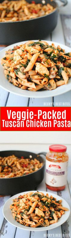 Veggie-Packed Tuscan Chicken Pasta is a healthy weeknight dinner recipe. Get a tasty meal loaded with mushrooms, tomatoes and spinach on the table in 30 minutes.Yum! This is one of our favorite dinner recipes!