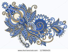 original hand draw line art ornate flower design. Ukrainian traditional style . Raster version - stock photo