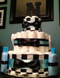 Custom Personalized 65 DIAPER CAKE Bow Tie Theme Blue Black Checkered BOY Baby Shower Gift Decoration
